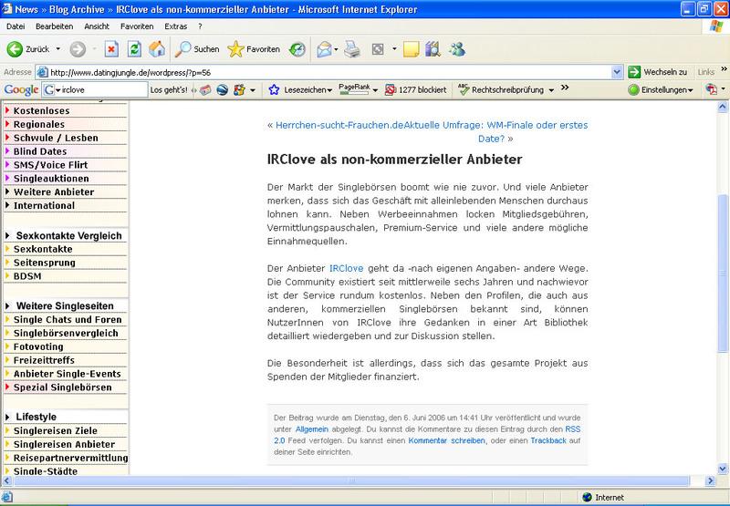 Erwähnung von irclove.de bei Datingjungle