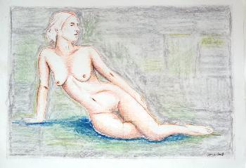 Lady Grey I, 2004, Pastell und Ölkreide auf Papier