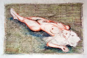 Lady Grey II, 2004, Ölkreide und Pastell auf Papier