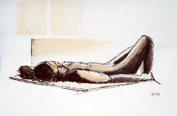 weiblicher Akt, 1994, Kaffee und Tusche