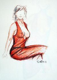 Frau in rotem Kleid II, sitzend