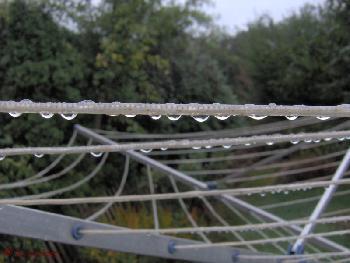 Regentropfen auf der Wäscheleine