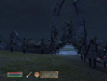 Der Aufruf zum letzten Kampf der Knights of the Nine. Die Person in der Mitte ist der Anführer Lord of Crusader -