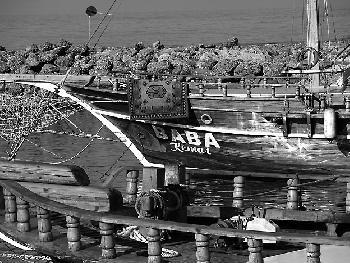 Schiff im Hafen von Side, Türkei