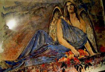 Ernsthafter Engel Totalansicht