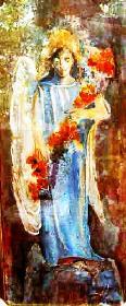 Engel mit  Flügel in blau mit Blumen