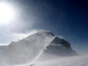 Der Mont Blanc im Sturm vom Dome du Gouter aus