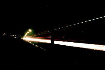 Landstraße bei Nacht, Langzeitbelichtung