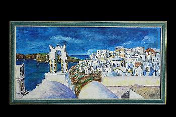 Blick auf Santorini in Griechenland ...