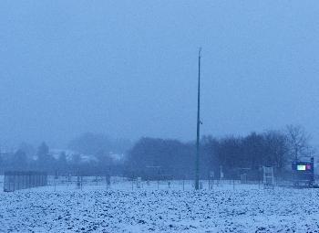Offenbacher Wetterstation im Schneegestöber - ein seltener Anblick
